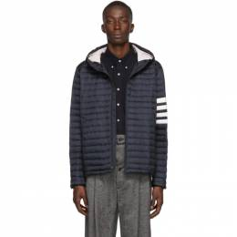 Thom Browne Navy Down 4-Bar Quilted Hooded Jacket 192381M17800905GB