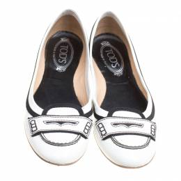 Tod's Monochrome Patent Leather Penny Ballet Flats Size 40 159940