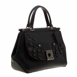 Coach Black Willow Floral Leather Drifter Satchel 187054