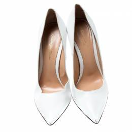Gianvito Rossi White Leather Pointed Toe Pumps Size 38 198901