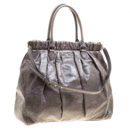 Miu Miu Grey Lux Leather Gathered Tote 133525