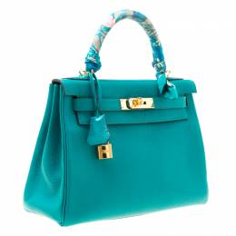 Hermes Blue Paon Clemence Leather Gold Hardware Kelly Retourne 28 Bag 175002