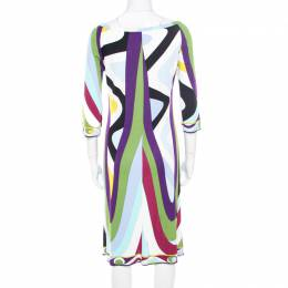Emilio Pucci Multicolor Printed Jersey Long Sleeve Dress M 182752