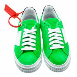 Off-White C/O Virgil Abloh Neon Green Suede Arrow Sneakers Size 36 196846