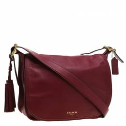 Coach Burgundy Tassel Leather Flap Shoulder Bag 197409
