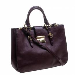 Miu Miu Burgundy Leather Madras Executive Tote 145074