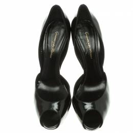 Gianvito Rossi Black Leather Peep Toe D'orsay Pumps Size 37 107545