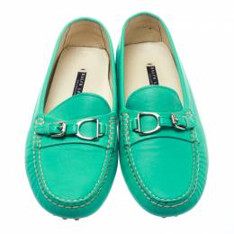 Ralph Lauren Turquoise Leather Loafers Size 39 178005