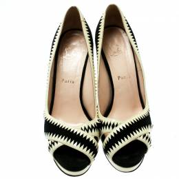 Christian Louboutin Black Suede And Cream Patent Leather Peep Toe Platform Pumps Size 39 181272