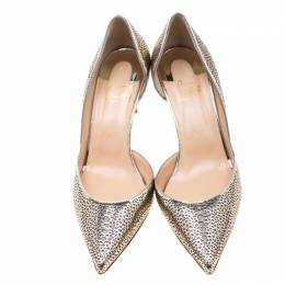 Christian Louboutin Metallic Light Gold Perforated Leather and Glitter Galu D'orsay Pointed Toe Pumps Size 39 209365