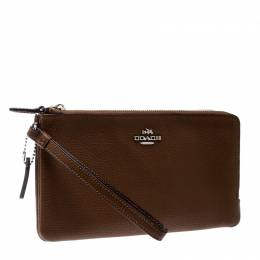 Coach Tan Leather Double Zip Wristlet 208520