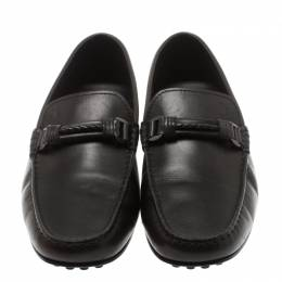 Tod's Black Leather Braided Horsebit Loafer Size 41.5 183028
