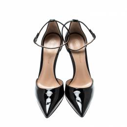 Gianvito Rossi Black Patent Leather Ankle Strap D'orsay Pumps Size 35 211161