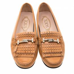 Tod's Brown Leather Gommino Fringe Double T Loafers Size 37.5 208126