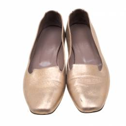 Hermes Metallic Gold Leather Smoking Slippers Size 38.5 211025