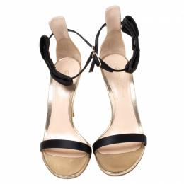 Gianvito Rossi Metallic Gold Leather And Black Satin Bow Detail Ankle Strap Open Toe Sandals Size 36 211417