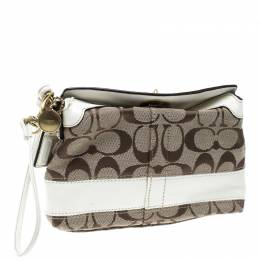 Coach Beige/White Signature Canvas Wristlet Pouch 140344
