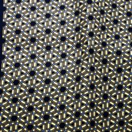 Hermes Black and Yellow Printed Silk Pocket Square 178269