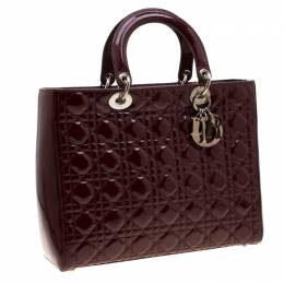Dior Burgundy Patent Leather Large Lady Dior Tote 206888