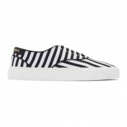 Saint Laurent	 Black and White Striped Venice Sneakers 192418M23701411GB