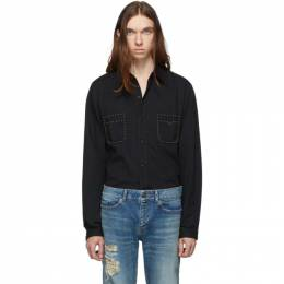 Saint Laurent	 Black Straight Studs Long Sleeve Shirt 579546YS881
