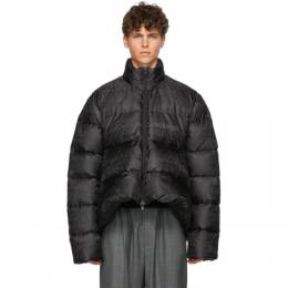 Balenciaga Black Quilted Technical Faille C-Shape Jacket 582998 TFO06
