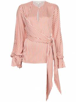 Jonathan Simkhai striped twist wrap blouse W2004T