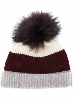 N.Peal - pom-pom colour block beanie hat 69593935389000000000