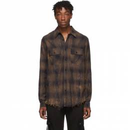 Amiri Brown Cracked Plaid Flannel Shirt 192886M19200902GB