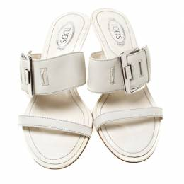 Tod's White Leather Buckle Accented Sandals Size 36 213415