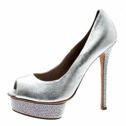 Le Silla Metallic Silver Leather Crystal Embellished Platform Peep Toe Pumps Size 38 213637