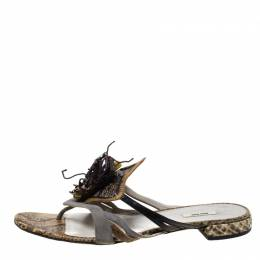 Miu Miu Multicolor Python Leather And Suede Spider Embellished Flat Sandals Size 37 213330
