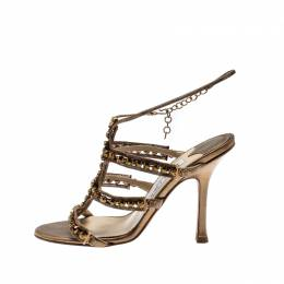 Jimmy Choo Gold Metallic Leather And Jewel Embellished Strappy Sandals Size 35 212867