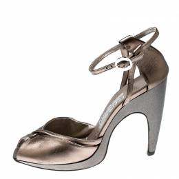 Salvatore Ferragamo Metallic Bronze Leather Ankle Strap Sandals Size 37.5 212998