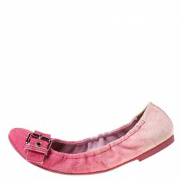 Louis Vuitton Pink Denim Buckle Scrunch Ballet Flats Size 37.5 215402