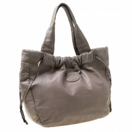 Tod's Grey Leather Drawstring Tote 213057
