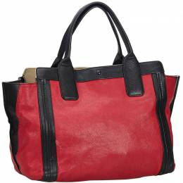 Chloe Red and Black Leather Alison Tote Bag 207035