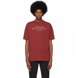 Palm Angels Burgundy Vintage Logo T-Shirt PMAA001F194130192447