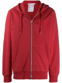 Helmut Lang - embroidered logo zip-up hoodie DM565FYKH95399895000