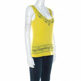 Alberta Ferretti Yellow Paisley Printed Cotton Sequin Detail Top L 216493