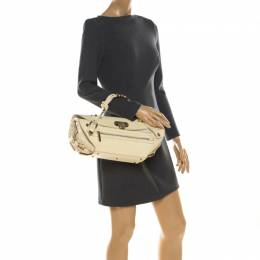 Versace Cream Croc Embossed Leather and Suede Medium Canyon Bag 213352