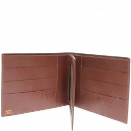 Hermes Brown Leather Card Case Wallet 215979