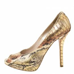 Dior Metallic Two Tone Python Embossed Leather Peep Toe Platform Pumps Size 36 216516