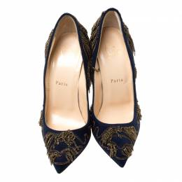 Christian Louboutin Blue Suede Doly Party Chain Embellished Pointed Toe Pumps Size 38.5 217273