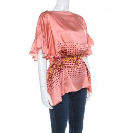 Gianfranco Ferre	 Peach Printed Silk Ruffle Sleeve Belted Blouse M 216583