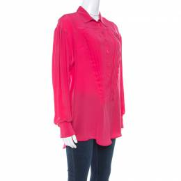 Just Cavalli Pink Silk Pleated Front Rolled Cuff Detail Blouse M 216631