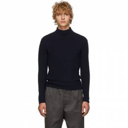 Lemaire Navy and Black Wool Turtleneck M 193 KN179 LK086