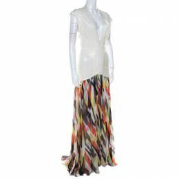 Herve Leger White Sequin Knit and Multicolor Printed Chiffon Backless Maxi Dress S 217447
