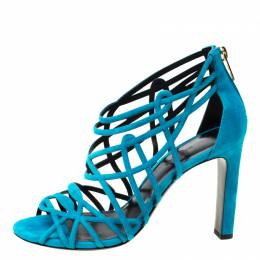 Hermes Blue Suede Strappy Peep Toe Sandals Size 38