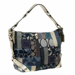 Coach Blue/Silver Patchwork Canvas and Leather Tote 212417